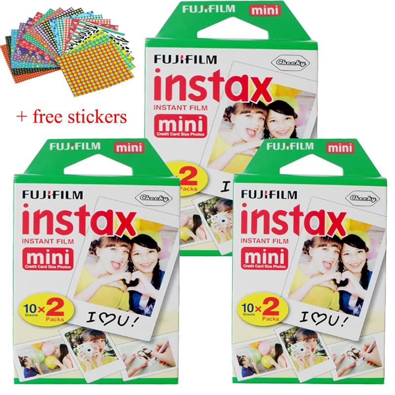 60 feuilles Original Fujifilm Fuji Instax Mini Film blanc feuille pour Polariod mini7 7 s 8 10 20 25 50 s 50i SP1 dw sp-1, lomo instant