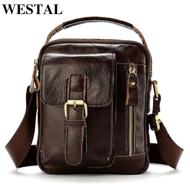 fafb093fbcd2 WESTAL сумка Для мужчин из натуральной кожи Для мужчин мужская сумка  Исполнительный кожаная сумка небольшой лоскут молнии Crossbody для мужчин  8362 купить ...