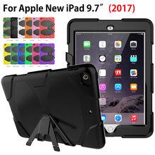 Armor case pata de cabra funda para apple nuevo ipad 9.7 2017 case cubierta Tableta Seguro Resistente A Prueba de Golpes Soporte Cuelgue Shell Modelo A1822