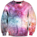 2015 Autumn/Winter 3d sweatshirts women/men pink space galaxy PASTEL NEBULA print fashion sweatshirt