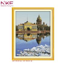 St. Petersburg with blue sky NKF Cross Stitch DMC Sets For Embroidery kit needle accesories for Home Decoration