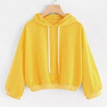 58ecb706cb Hoodes sólida Das Mulheres do sexo feminino camisola Outono Inverno  harajuku Moletom Com Capuz Outwear Tops