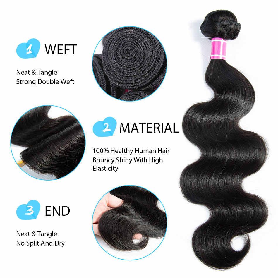 Бразильские объемные волнистые пучки с бразильские волосы с закрытием пучки с закрытием человеческих волос 3 пучка с закрытием не Remy TTHAIR