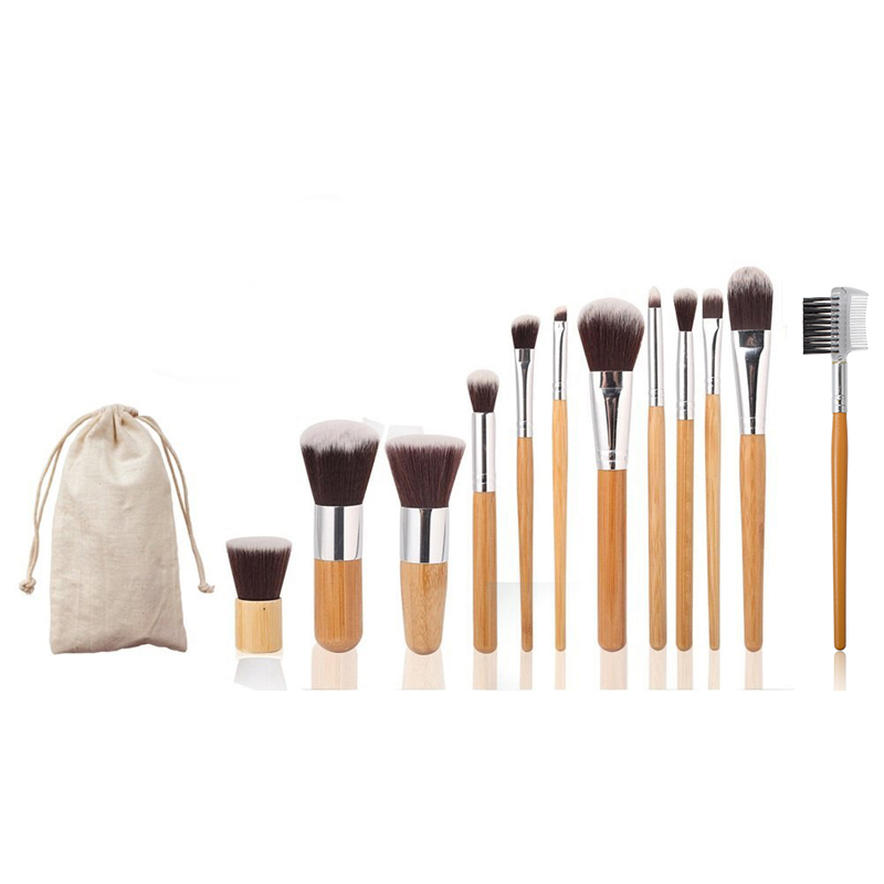 12pcs/set Natural Bamboo Professional Face Beauty Make Up Foundation Powder Blusher Tool Cosmetic Makeup Brush Set Kits professional makeup brush flat top brush foundation powder beauty cosmetic make up brushes tool wooden kabuki