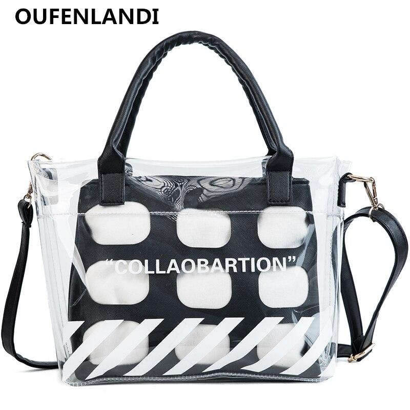 OUFENLANDI 2018 Hot Sale Transparent Bag luxury Composite bag women bags designer Ladies daily universal shopping messenger bag