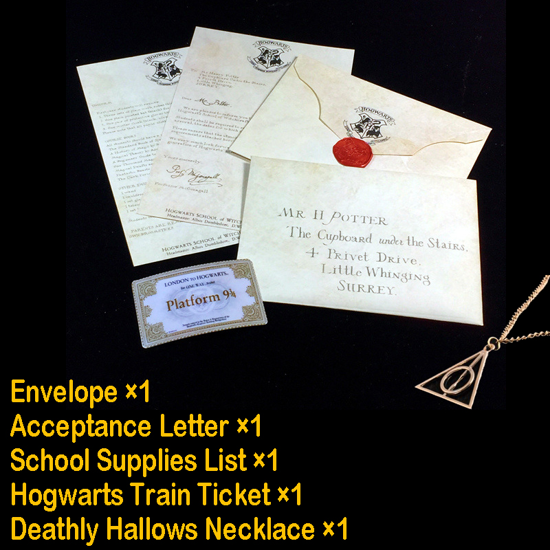 Harry Hogwart Acceptance Letter With Hogwart Express Train Ticket & Deathly Hallows Necklace