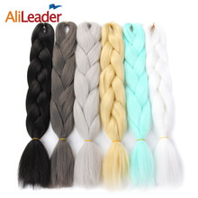 "AliLeader Crochet Kanekalon Synthetic Braiding Hair Extensions Ombre Brown Blonde Pink Purple Green Silver Grey 47 Colors 24""(China)"