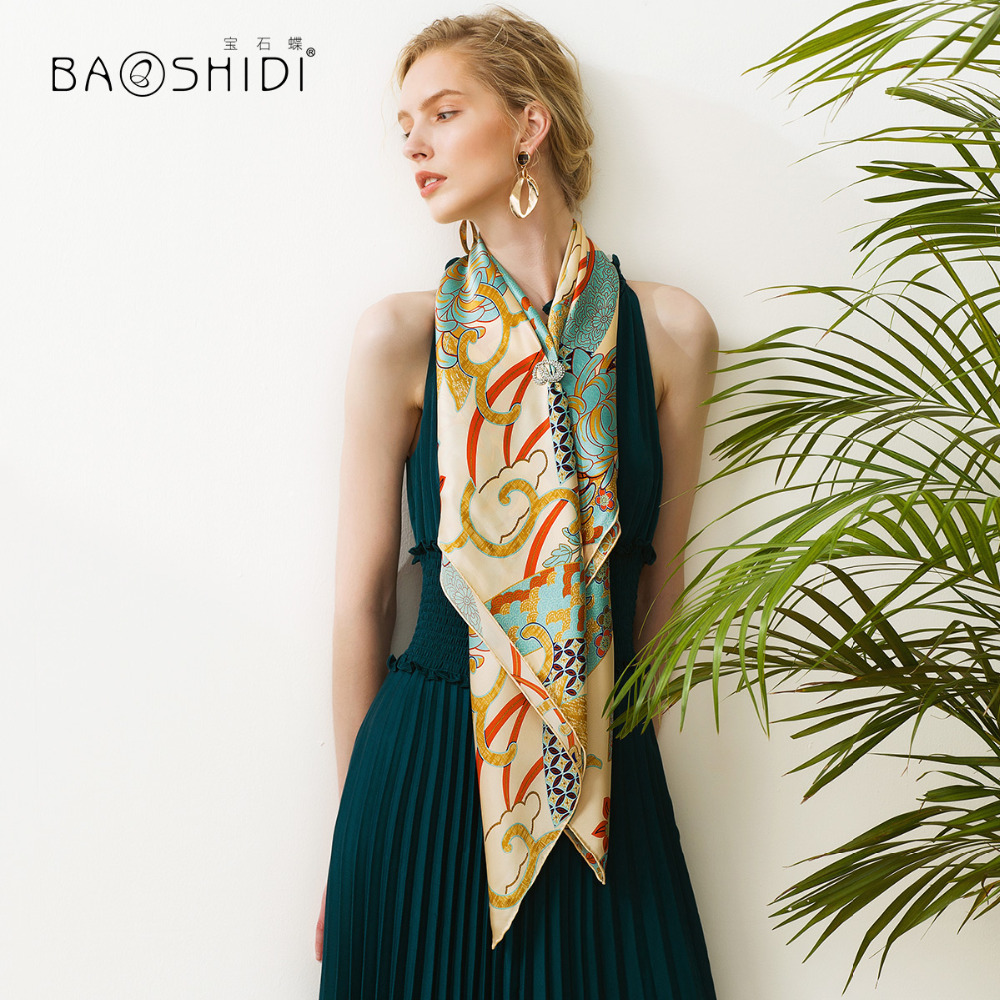 BAOSHIDI 2018 New Arrival 16m m 100 silk satin scarf Fashion Square Scarves women infinity