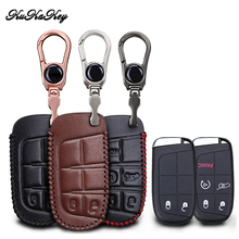 Genuine Leather Car Key Cover Case For Jeep Wrangler Patriot Grand Cherokee Compass Liberty 2&5 Button Smart Key Shell Keychain