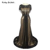 Rubí nupcial lujo negro tul con cuentas de oro Lentejuelas Vestidos de noche vestido de fiesta largo sirena Cap mangas de baile vestido l094