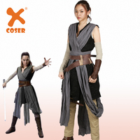 XCOSER Updated Vision Star Wars 8 The Last Jedi Rey Battle Suit Fancy Outfit Brand Sale Deluxe Rey Cosplay Costume For Women