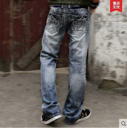 Blue Semi Quemado Bolsillo Masculinos Luz Bordado Trasero Jeans dHqnY