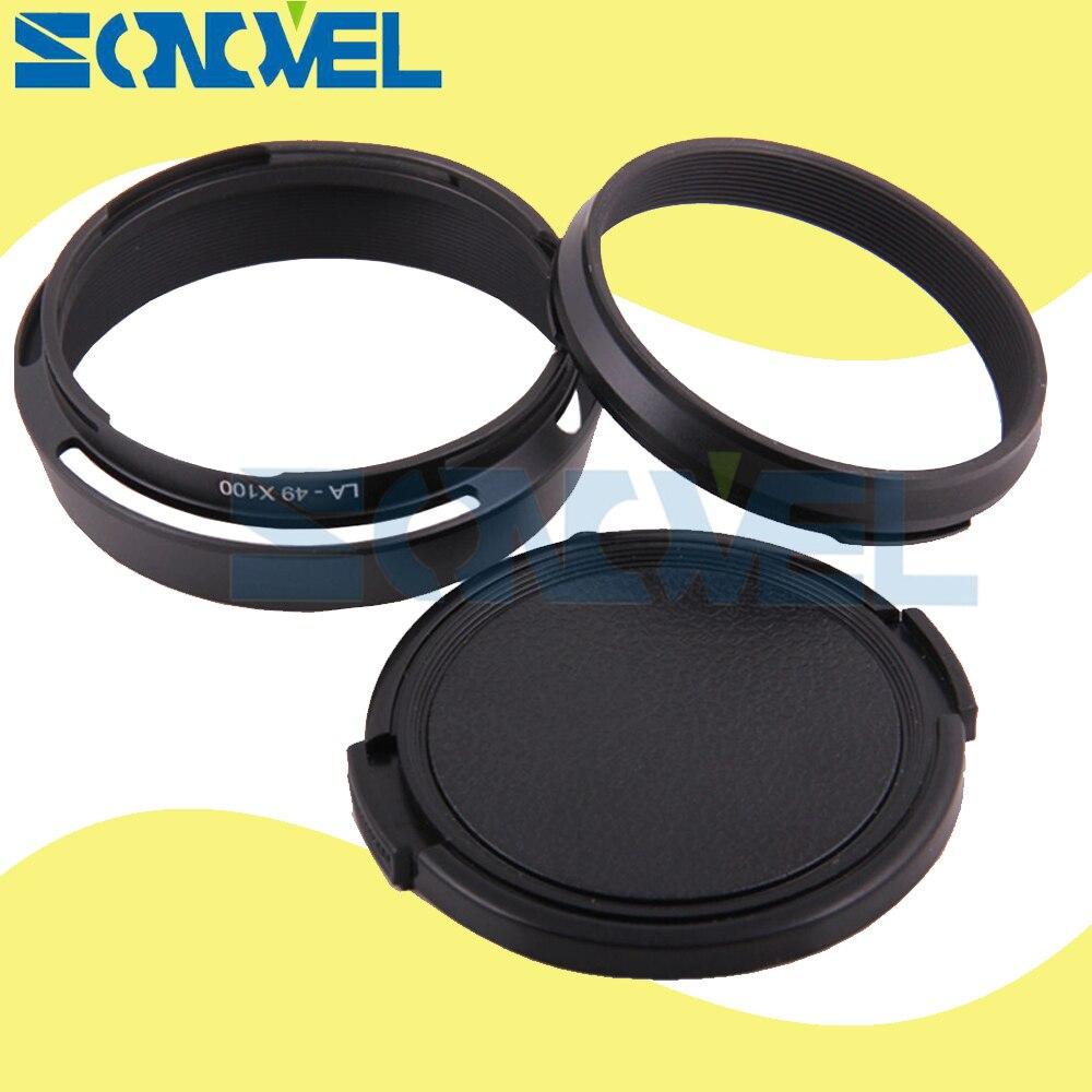 Black 49mm Lens Adapter Ring Metal Lens Hood Lens cap for Fujifilm Fuji X100 X100s X100T