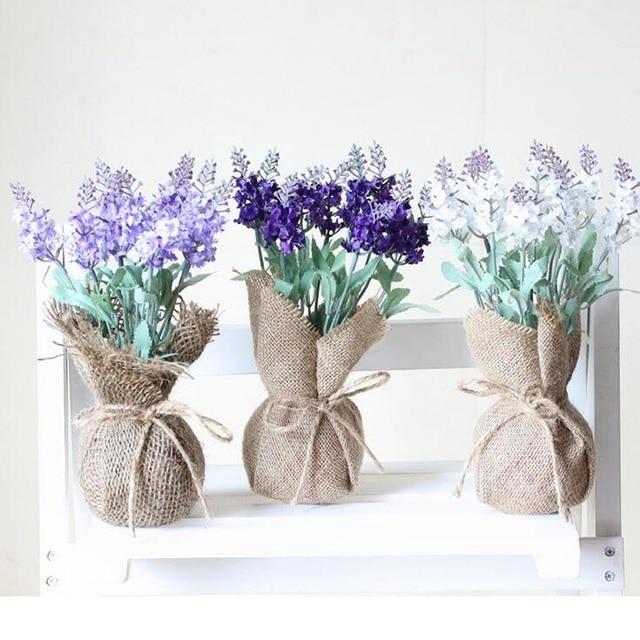 k nstliche lavendel seidenblume hochzeit dekoration desktop gr ne pflanze sackleinen jute tasche. Black Bedroom Furniture Sets. Home Design Ideas