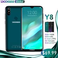 DOOGEE Y8 Smartphone MTK6739 3 GB RAM 16 GB ROM Android 9.0 FDD LTE 6.1 pouces 19:9 Waterdrop LTPS Écran 3400 mAh Double SIM 8.0MP(China)