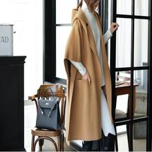 Women Clothing 2016 5XL Spring Autumn Winter Coat Fashion Female Cloak New Loose Woolen Tops Half Sleeve Wool & Blends