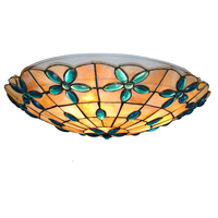 New 16 Inch Classic Tiffany Flower Shell Ceiling Lamp European Retro Stained Glass Bar Aisle Dining