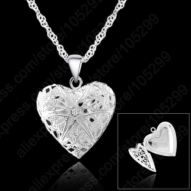 One PC Frame Case Picture Necklace 925 Sterling Silver Color Jewelry Heart Pendant Necklaces +18 inches Singapore Chain