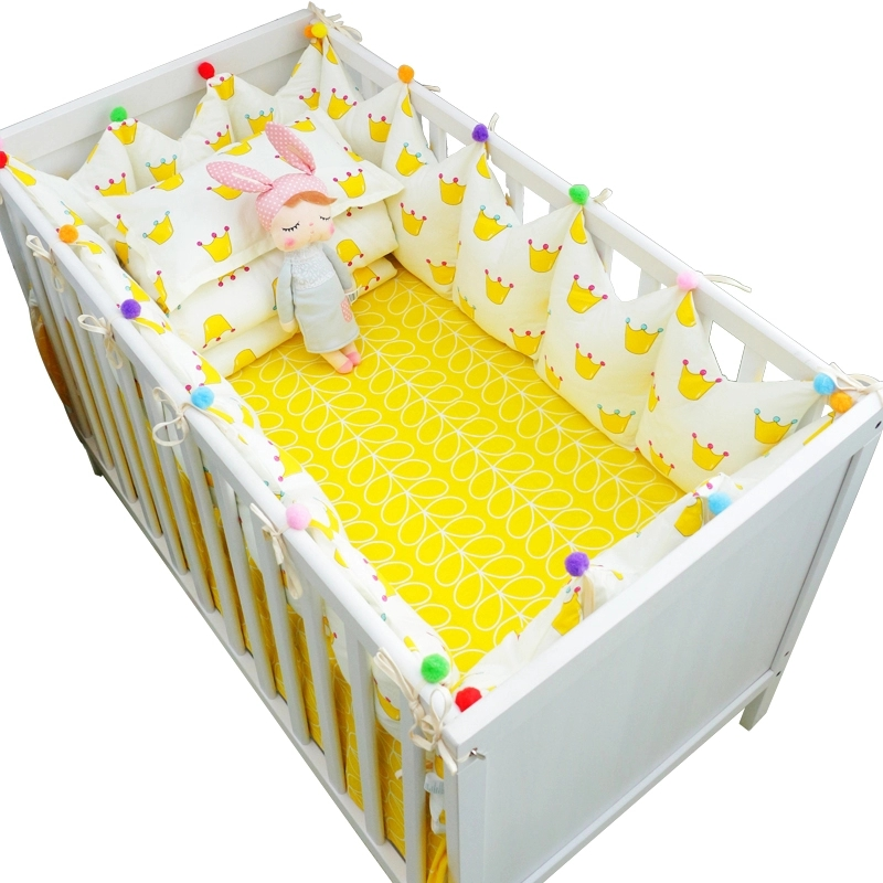 7 pcs/set Ins Hot Crown Design Crib Bedding Set Kawaii Thick Bumpers for Baby Cot Around Include Bed Bumper Sheet Quilt Pillow 5pcs set cute crown thick cot protector bumpers luxury baby bedding set cotton crib linens include around bed bumpers bed sheet