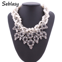 Seblasy Statement Jewelry Crystal Flowers Elegant Multilayer Simulated Pearl Chain Collar Choker Necklaces Pendants For Women