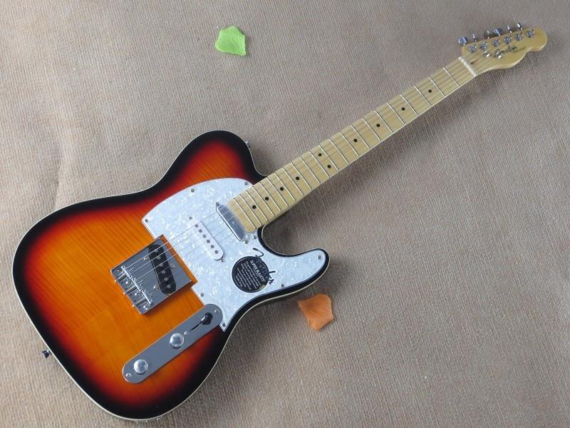 Free shipping HOT! High Quality Custom Shop Telecaster Tiger stripes sunburst flame Electric Guitar 15-9