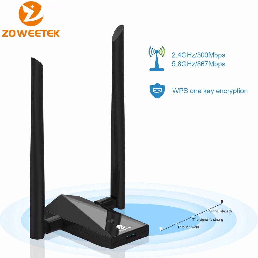 Zoweetek Wireless Wifi Adapter USB 3.0 Wi fi Lan Receiver Dual Band Antenna 1200Mbps 802.11ac Repeater Network Card For PC Phone