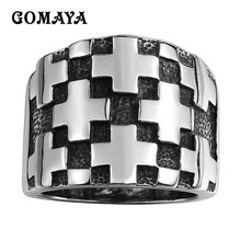GOMAYA Mens Boys 316L Stainless Steel Medieval Knight Templar Cross Rings Gothic Magic Fashion jewelry Size 8-11