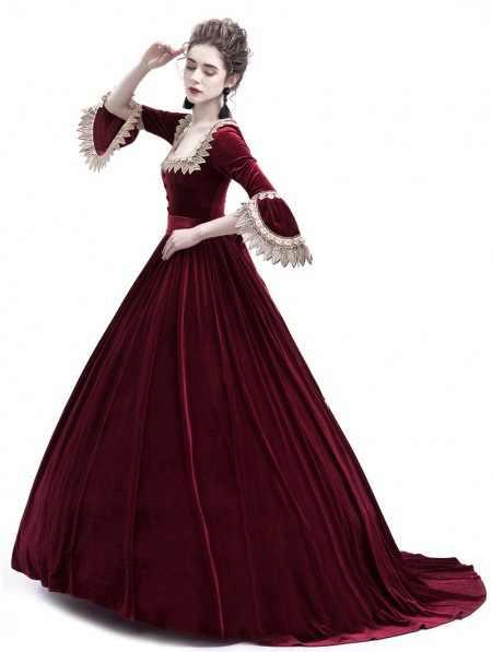 ארמון משפט נסיכת שמלת דק אלגנטי כדור שמלת כיכר צווארון תחרה ליל כל הקדושים תחפושות רנסנס ימי הביניים שמלת למבוגרים אישה