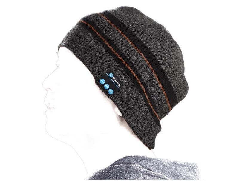 Беспроводной Bluetooth V4.2 Beanie для мальчиков и девочек, мужчин и женщин, вязаная зимняя шапка для наушников, ручной Mp3 микрофон, волшебная музыка, умная шапка+ подарочная коробка - Цвет: Grey Black Striped