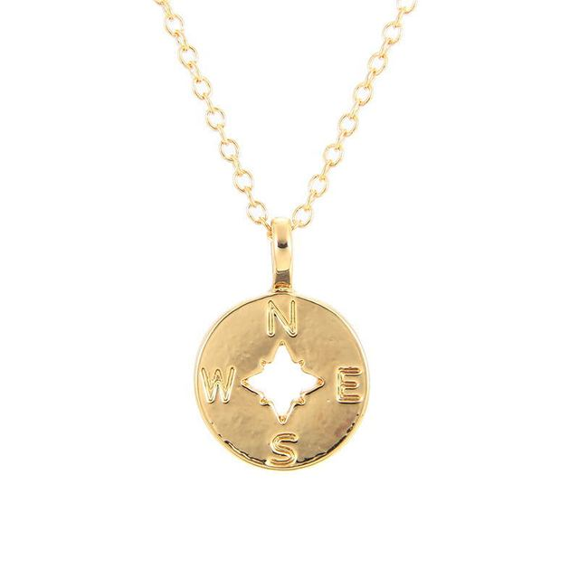 12pcs Fashion Jewelry Going Places, Flat Compass Necklace For Women