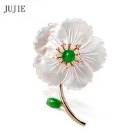 Muszle JUJIE Luksusowe Kwiatowe Broszki Dla Kobiet Mody Rhinestone Broszka Pins Broszki Na Ślub Złoty Kolor Roślin Biżuteria