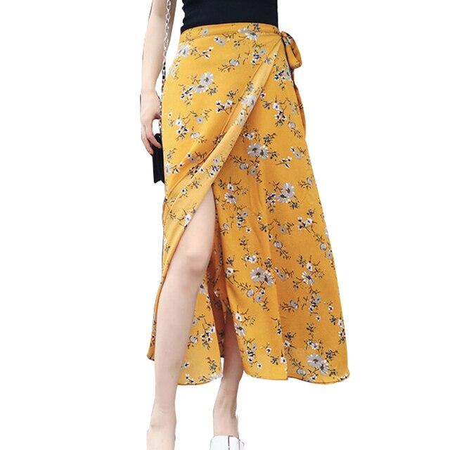 Летняя шифоновая пляжная юбка черного, желтого цвета красный с эластичным поясом длинные цветочные юбки женские богемные вечерние миди Асимметричная юбка