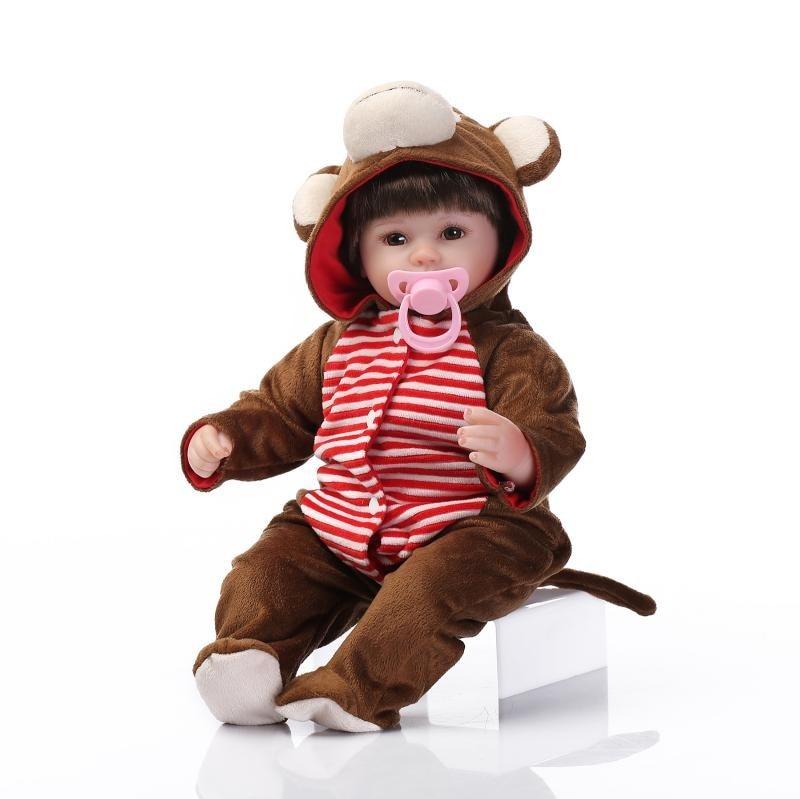 45cm σιλικόνη ξαναγεννηθεί κούκλες μωρών χειροποίητα ρεαλιστική νεογέννητο bebe κούκλα ρούχα μωρά κορίτσια δώρα Bonecas brinquedos