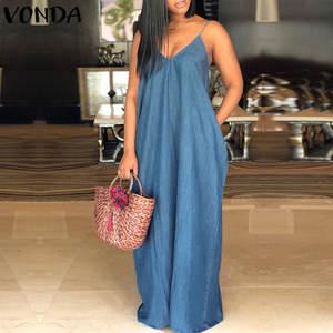 5a5d4f2e9b VONDA Women Denim Dress 2018 Sexy Beach Maxi Long Casual