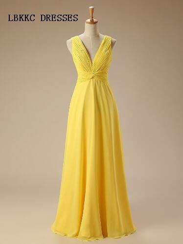 Yellow   Bridesmaid     Dresses   Long Chiffon Ruffle Wedding Guest Gown Robe De Demoiselles D Honneur Pour Mariage African   Bridesmaids