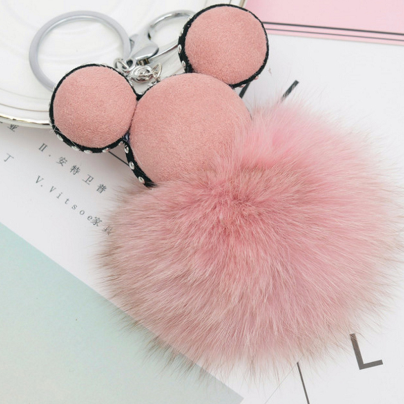 Fashion 100% Real Fox Fur Mickey Pompon Key Chain For Women, Mickey Fluffy Fur Ball Keychain Fox Hair Bag Key Holder EH808
