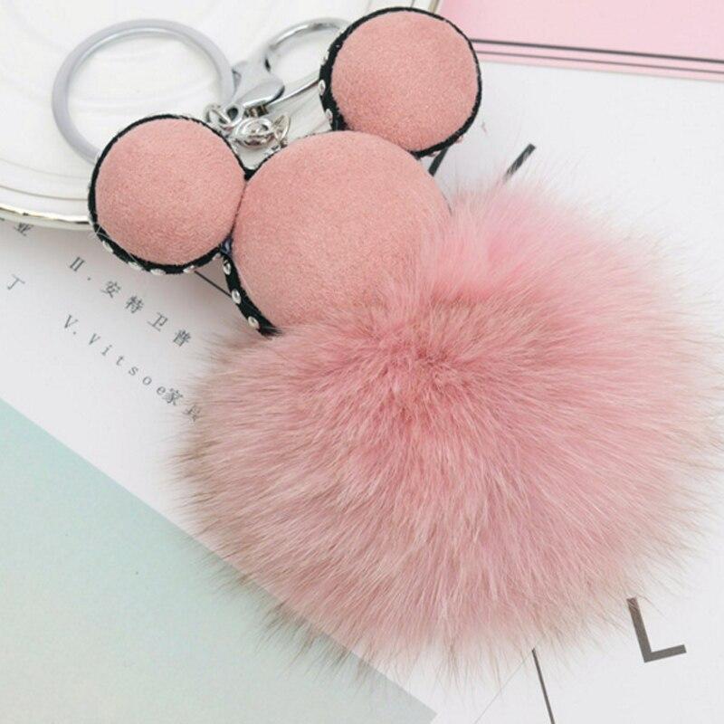Fashion 100% Real Fox Fur Pompon Key chain for Women,  Fluffy Fur Ball Keychain Fox Hair Bag Key Holder EH808