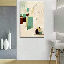 Nordic Abstract Modern Canvas Painting The Woman Washing the Clothes Hand Paint Wall Art Picture For Living Room Home Decor(China)