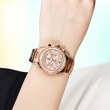 Rose Gold Women Watch Chronograph Sub Dial Full Steel Rhinestone Dress Lady's Dress Wristwatches New With Gift Box
