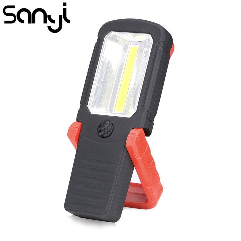 SANYI COB LED Work Inspection Flashlight Magnetic Folding Hook Torch Linternas Lanterna AAA Battery For Camping, Car Repairing