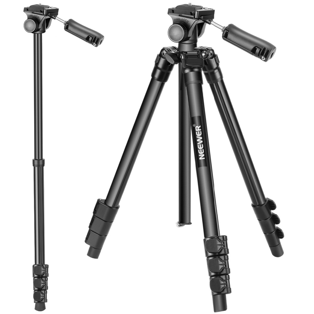 Neewer Portable Travel Camera Phone Tripod Monopod 57.5 inches Aluminum with Pan Tilt Head and Phone Clip for DSLR Camera phone benro s2 video head pan and tilt head for dslr video camera