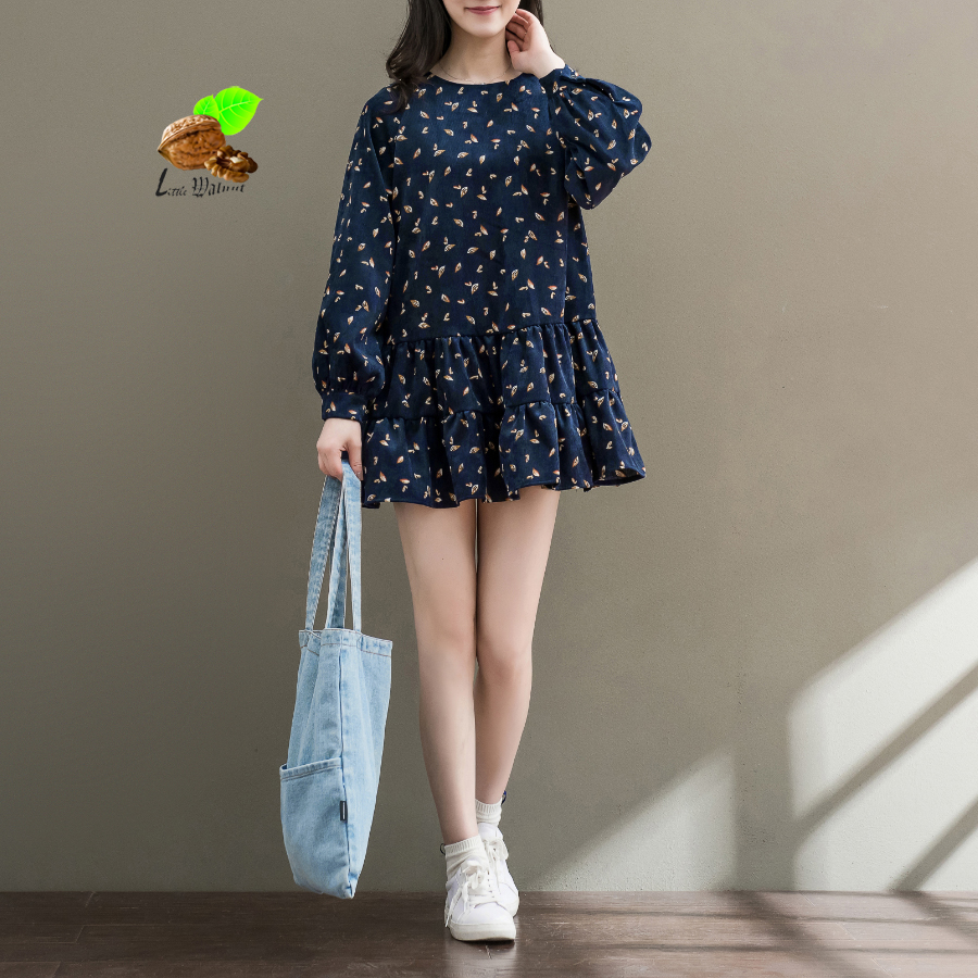 2018 women Art O-neck printed floral corduroy Mori dresses girls Harajuku Mini dresses autumn 2018 new Vinage clothes