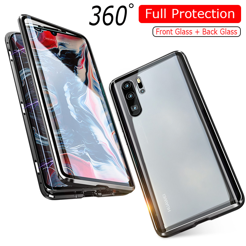 Luxury 360 Full Protection Magnetic Adsorption Phone Case For Huawei P30 Pro Metal Bumper Clear Glass