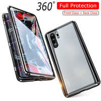 Luxury 360 Full Protection Magnetic Adsorption Phone Case For Huawei P30 Pro Metal Bumper Clear Glass Cover Case For P 30 Pro