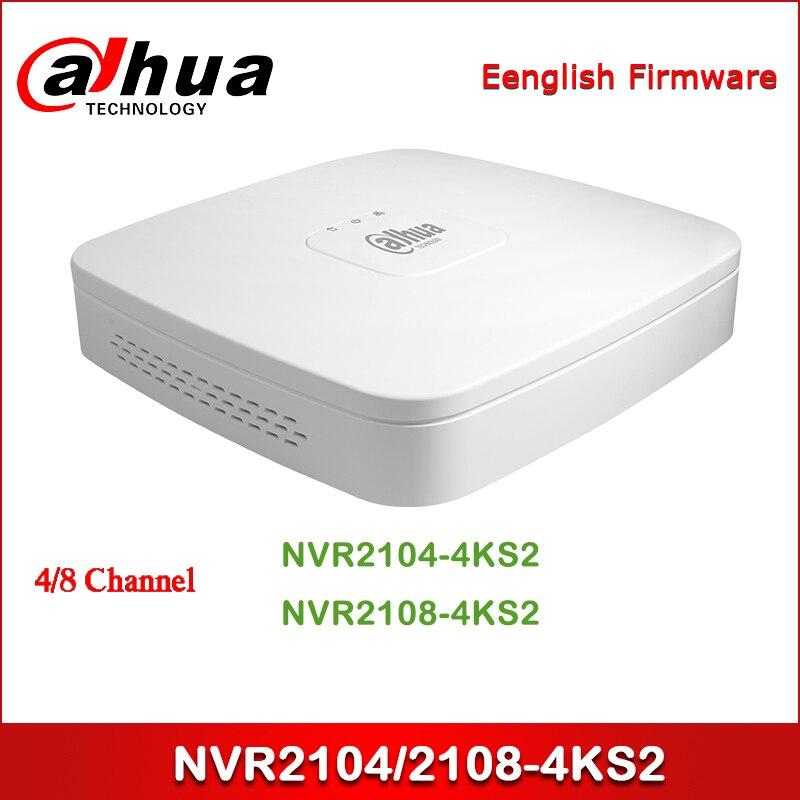 Dahua nvr NVR2104-4KS2 NVR2108-4KS2 4/8 canais smart 1u lite 4 k h.265 gravador de vídeo em rede