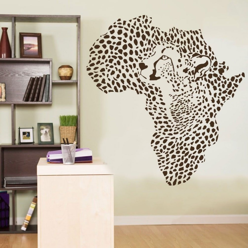Leopard Wallpaper For Bedrooms African Leopard Map Wall Sticker Wild African Animal Leopard
