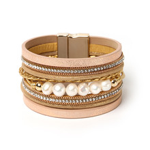ORNAPEADIA Summer New Jewelry Top Sell Bohemia Multilayer bracelet Ethnic chain Accessories pearl Leather Bangles for women gift