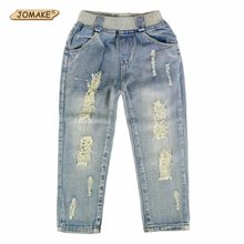 2018 New Style Kids Jeans Boys Girls Trousers Autumn Fashion Designer Children Denim Pants Casual Ripped Jeans For 2~9 Years(China)