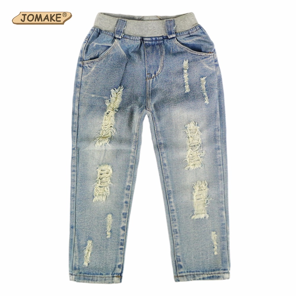 2018 New Style Kids Jeans Boys Girls Trousers Autumn Fashion Designer Children Denim Pants Casual Ripped Jeans For 2~9 Years fashion casual women brand vintage high waist skinny denim jeans slim ripped pencil jeans hole pants female sexy girls trousers
