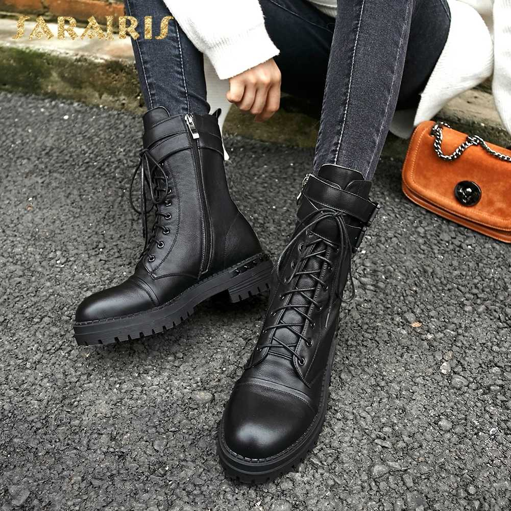 SARAIRIS 2018 Genuine Leather Zip Up Chunky Heels Cow Leather Shoes Woman Boots Woman Shoes Mid Calf Boots Size 34-39